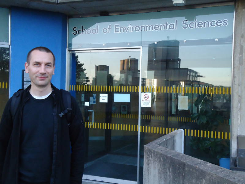 Me at the School of Environmental Sciences at  	the UEA Norwich